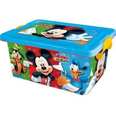 Mickey Mouse- Contenedor 13 litros con Tapa y Cierres, Caja organizadora (STOR 04485)
