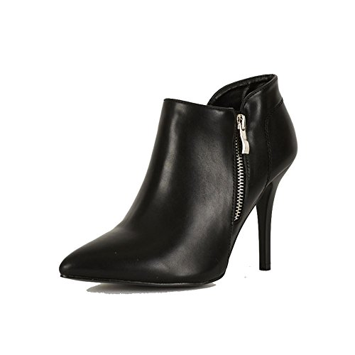 Pointu bottes à embout haut talon chaussures / bottines avec zip de fonctionnalité argent Noir