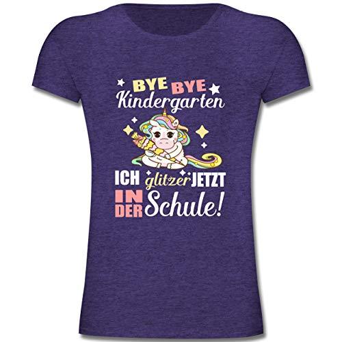 Einschulung und Schulanfang - Ich Glitzer jetzt in der Schule Einhorn mit Schultüte - 140 (9-11 Jahre) - Lila Meliert - F131K - Mädchen Kinder T-Shirt -