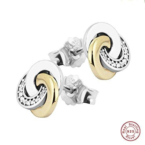 MOCCI Moda primavera autentico autentico argento 925 orecchini a cerchio interconnessi per i monili delle donne