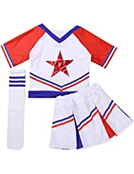 b12c8b723b890 iixpin 3 pcs Disfraces de Animadora Fútbol Tenis Baloncesto Niñas Chicas  Traje de Porrista Camiseta Estrella