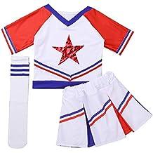 iixpin 3 pcs Disfraces de Animadora Fútbol Tenis Baloncesto Niñas Chicas  Traje de Porrista Camiseta Estrella b118da94570d7