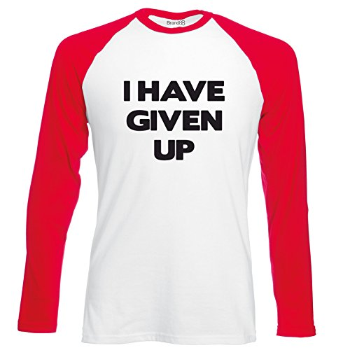 Brand88 - I Have Given Up, Langarm Baseball T-Shirt Weiss & Rot