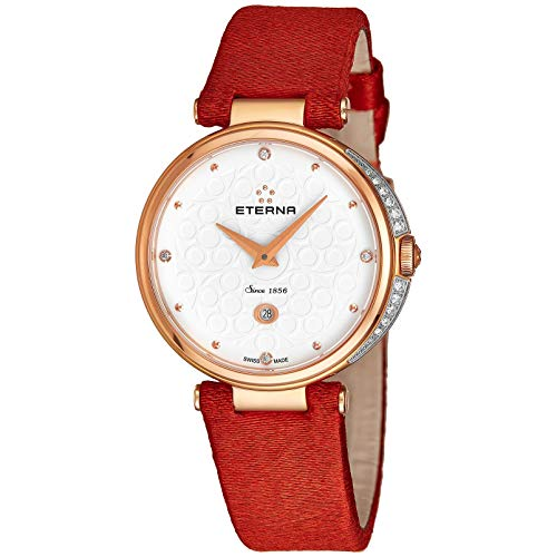 Eterna Women's Grace Diamond 32mm Red Leather Band Steel Case Quartz White Dial Watch 2566-60-61-1370