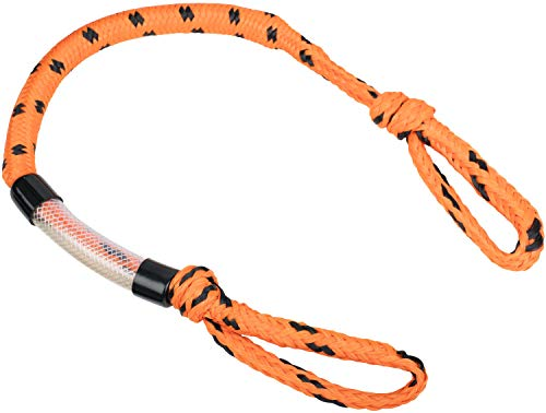 MESLE Schleppleine Bungee 4P 3', Schwimmende Tube-Leine, 90 cm Section Ruckdämpfer, orange-schwarz, bis 4 Personen Towables, Bungee-Seil elastisch Gummi-Leine Towing-Strap, für Boot Jet-Ski Yacht -