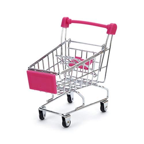 JOYKK Mini Supermarkt Hand Trolley Shopping Utility Cart Ablagekorb Pretend Kids - Hot Pink