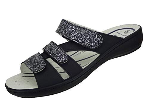 Algemare Damen Leder Pantolette 'Nubuk Graphit' mit Sani-Pur Wechselfußbett Made in Germany 3416_0488 Damen Sandale mit Absatz Sandalette, Größe:39