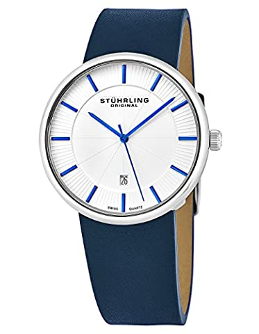 Stuhrling Original Classic Casual Swiss Analog Stainless Steel Men's Quartz Wrist-watch White Dial with Blue Accents and Genuine Blue Leather Strap, Modern Vintage look