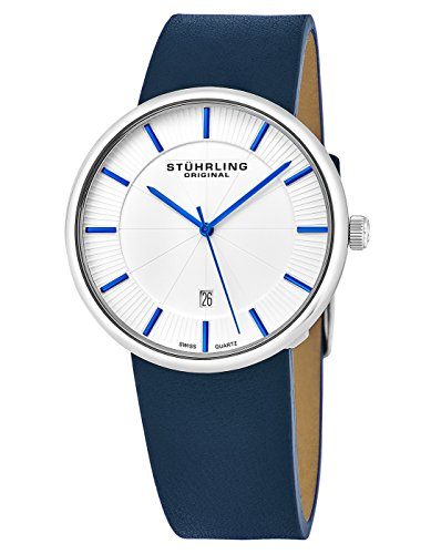Stuhrling Original Classic Everyday Wrist-Watch for Men, Casual Swiss Analog Stainless Steel Men's Quartz Wristwatch White Dial with Blue Accents and Genuine Blue Leather Strap, Modern Vintage look