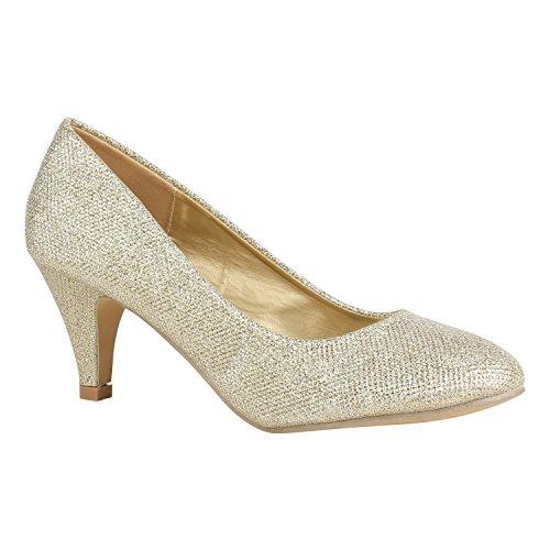 Klassische Damen Schuhe Pumps Stiletto Absatz Abend Leder-Optik 156100 Gold Metallic 36 Flandell
