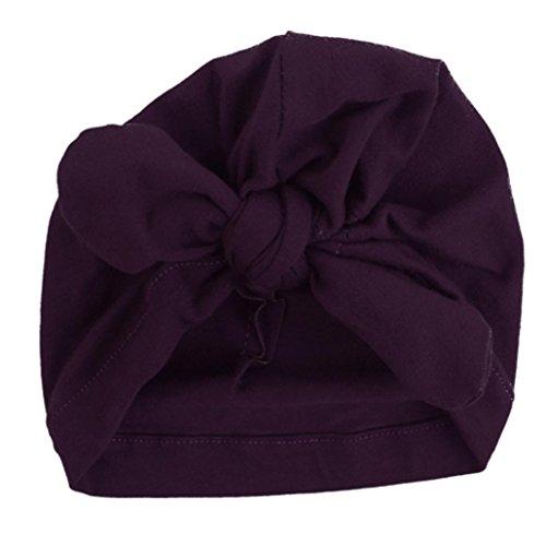 Babybekleidung Hüte & Mützen Winter Baby Kinder Mädchen Jungen Warme Baumwolle Mützen Bogen Knoten schönen weichen Hute (15.3*17.5cm) (Purple)