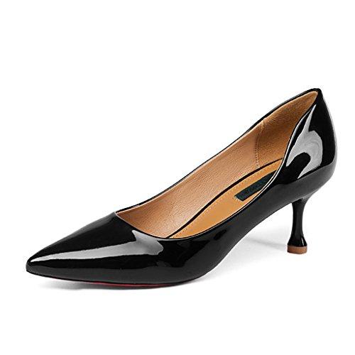 HWF Scarpe donna Scarpe col tacco alto Scarpe a punta sottile con punta a molla Scarpe da donna Bocca bassa Scarpe singole Tacco medio Donna da donna ( Colore : Rosa , dimensioni : 39 ) Nero