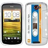 Etui de créateur pour HTC One S - Etui / Coque / Housse de protection blanc, bleu et orange en TPU/gel/silicone avec motif cool cassette rétro