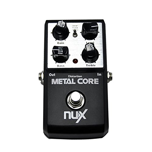 AMMOON NUX EFECTO PEDAL METAL CORE DISTORSION 2 BAND EQ TONE LOCK PRESET FUNCION TRUE BYPASS