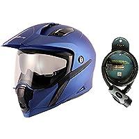 Vega Mount Dull Blue Helmet-L and Vega Safety Cable Lock Dull Black Grey