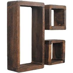 Juego de 3 estanterías retro en forma de cubo de madera shabby maciza marrón oscuro para salón