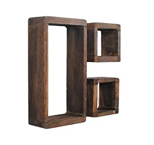 Ts ideen set of 3 shelves retro wooden cube shaped shabby for Ikea mensole cubo