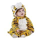 Amooy Dizi Baby Strampler Tier Spielanzug Flanell Jumpsuit Winter Bekleidung Babybekleidung (Tiger, 80 cm (100))