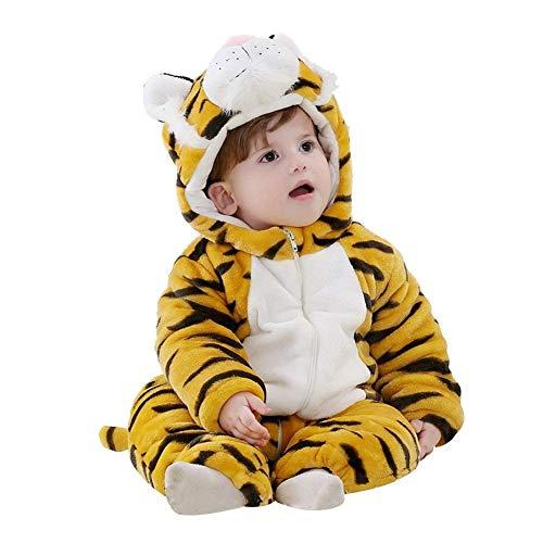 Prima infanzia flanella pagliaccetto con cappuccio neonato tutina bambino jumpsuit (tigre, 80 cm (100))