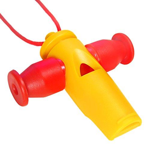 KEEPDRUM Samba-Pfeife Apito mit 3 Tonhöhen Tri-Tone Whistle Gelb-Rot