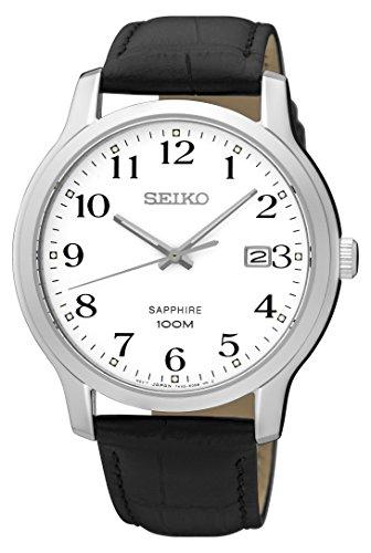 Seiko Herren Analog Quarz Uhr mit Leder Armband SGEH69P1