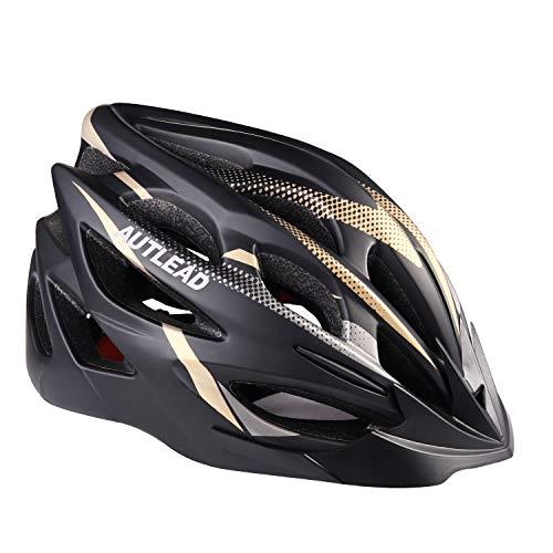 AUTLEAD Fahrradhelm Erwachsener Helm mit LED Licht und abnehmbarem Innenschuh verstellbare Sport-Fahrradhelme für Road & Mountain 22-24 Zoll, MV50