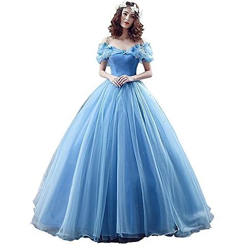 Engerla da donna Organza Cosplay Cenerentola abito lungo Quinceanera ballo