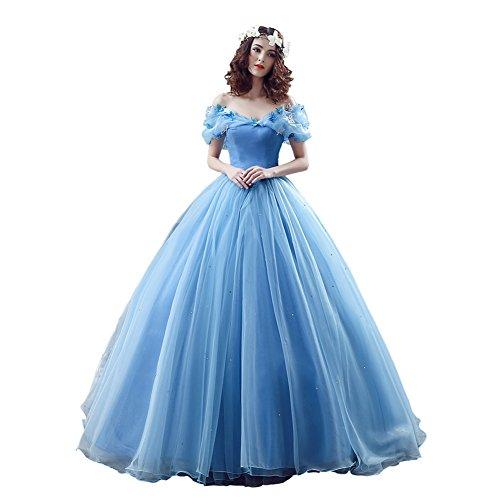 Engerla da donna Organza Cosplay Cenerentola abito lungo Quinceanera ballo Blue 40