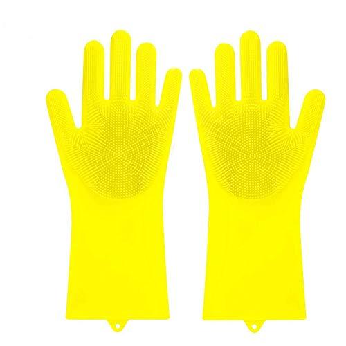 Ovecat Magic Guanti in Silicone utensile da Cucina Riutilizzabile Pennello in Silicone Resistente al Calore Scrubber Bagno per Pulire, Piatto, per Lavare l' Auto e Pet Yellow