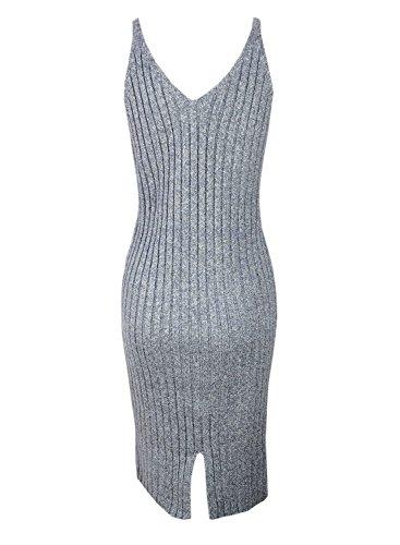 Futurino Femme Sweater Tricot Sans Manches Jarretelle Robe pour Soirée Light Grey