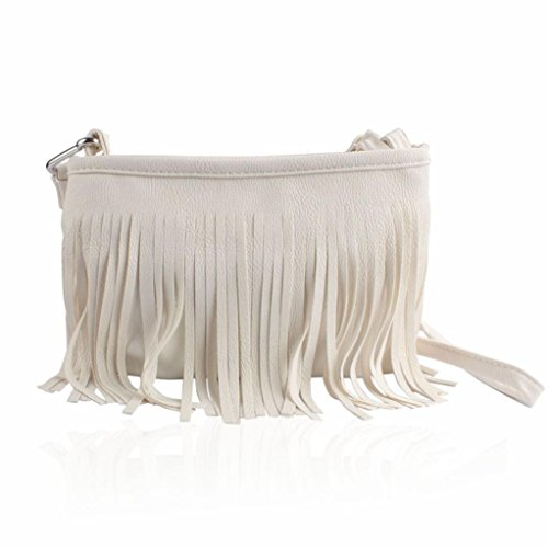 Fulltime(TM) Hot Tassel Shoulder Messenger Clutch Baguette Handbag Women Satchel (White)