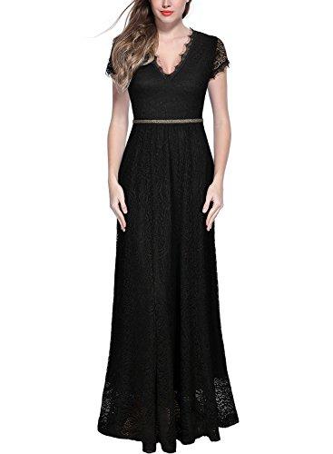 MIUSOL Damen V-Ausschnitt Spitzen Kleid Perlenstickerei Maxi Brautjungfer Abendkleid Schwarz XL (Spitze Kleid Maxi Damen)