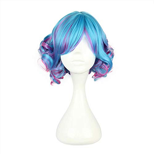 NiceLisa Mädchen Bunte Kurze Locken Deep Wave Manga Cartoon Cosplay Kostüm Synthetische Halloween ()