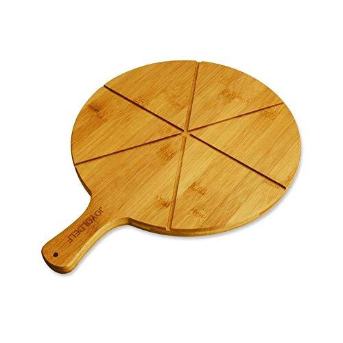 Joyoldelf - tagliere per pizza in bambù naturale, con 6 scanalature, perfetto per servire formaggi, pane e pizza, 30 cm di diametro (bambù)