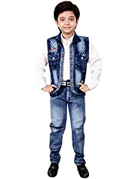 Arshia Fashions Boys Shirt Waistcoat and Denim Set Party wear