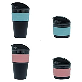 eCUPZ Collapsible Reusable Coffee Cup With Lids | Eco Friendly Alternative to Plastic Disposable Cups | Portable & Refillable for Travel | Fits in Pockets & Handbags | FDA approved Silicone & Dishwasher Safe | 12 oz 41wglMjueGL