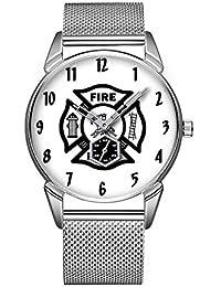 Mode Impermeable Reloj Minimalista Personalidad patrón Reloj de 355. Bombero