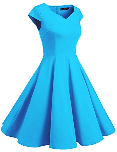 Dresstells Vintage 50er Swing Party kleider Cap Sleeves Rockabilly Retro Hepburn Cocktailkleider Blue