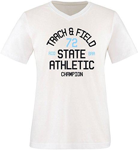 EZYshirt Track & Field Herren V-Neck T-Shirt Weiss/Schwarz/Hellbl