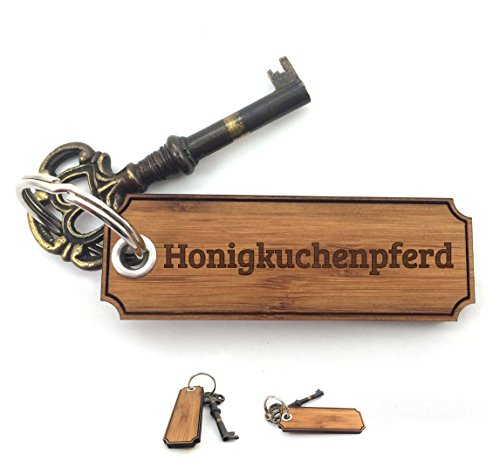 Mr. & Mrs. Panda Schlüsselanhänger Honigkuchenpferd Classic Gravur - 100% handmade aus Bambus - Valentinstag Gravur,Graviert Schlüsselanhänger, Anhänger, Geschenk Gravur,Graviert
