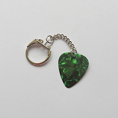 ALEXI LAIHO signature stamped plectrum guitar pick Children of KEYRING KEYCHAIN(GREEN PEARL)