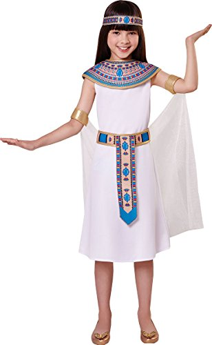 Onlyglobal Kinder Mädchen Kostüm Buchwoche Tag Königin Kleopatra ägyptisch Kostüm Outfit - Weiß, Small 110cm - 122cm