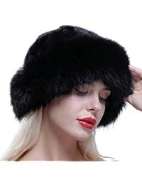 URSFUR Gorro de piel de lujo para mujer verdadera piel de zorro,boina,gorro de invierno,Sombrero de copa redondo