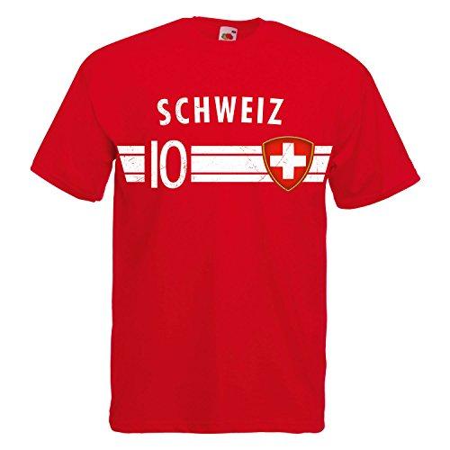 Fußball WM T-Shirt Fan Artikel Nummer 10 - Weltmeisterschaft 2018 - Länder Trikot Jersey Herren Damen Kinder Schweiz Suisse Schwitzerland 4XL