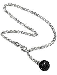 SilberDream Fußkette Glitzer Kugel schwarz 25cm 925 Sterling Silber Fußkettchen SDF010S