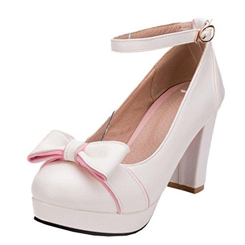 Agodor Damen Blockabsatz High Heels Pumps mit Schnalle und Schleife Plateau Riemchen Rockabilly Schuhe