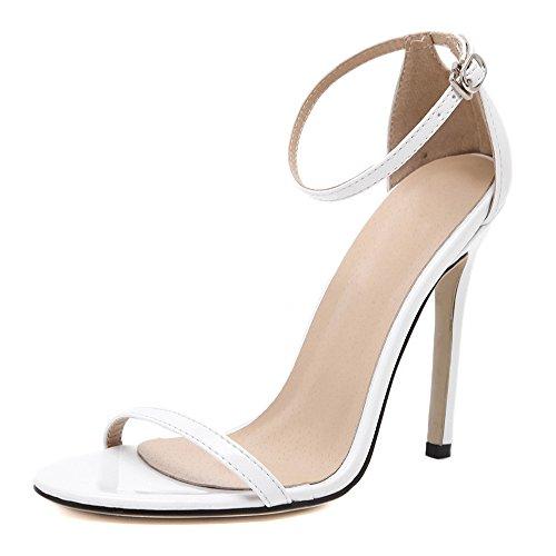 Eastlion Damen und Mädchen sind einfach Single Strap Style Stiletto High Heel Sandalen, 34-41 Weiß