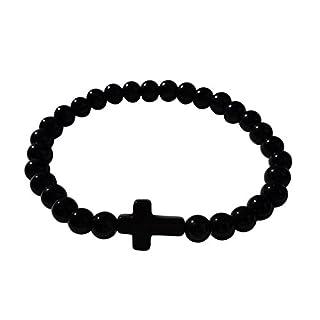 Akacha Rosenkranz-Armband mit Kreuz, unisex, Schwarz