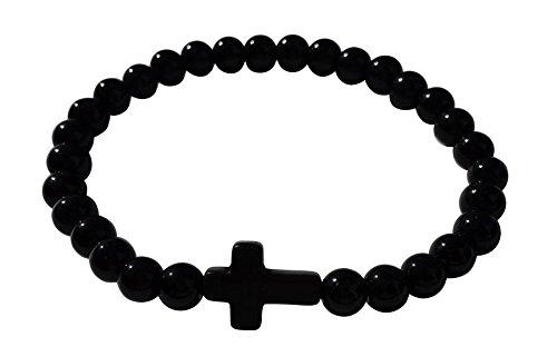 Akacha - bracelet croix chapelet homme femme fashion rosary shamballa , - Noir