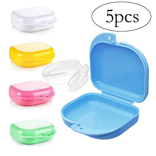 5PCS Caja de retención de ortodoncia delgada con orificios de ventilación, Caja de contenedores de almacenamiento de prótesis Estuche dental para retenedores de ortos Deportes, aparatos dentales